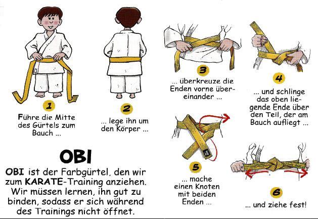 Hier wird gezeigt wie ein Karate Gürtel richtig gebunden wird.