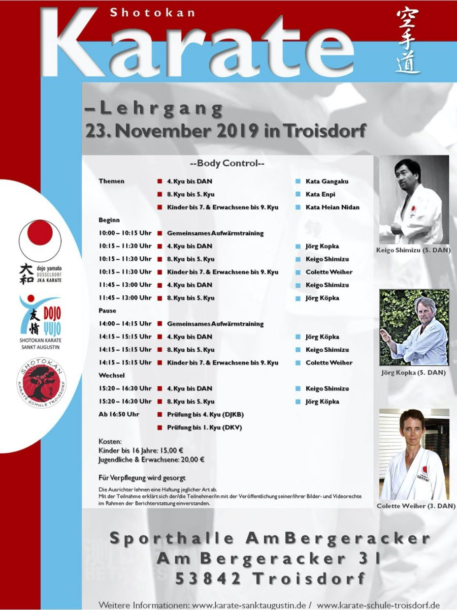 Karate Lehrgang am 23 November 2019