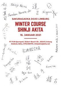 Flyer für den Lehrgang mit Akita Sensei im Januar 2021