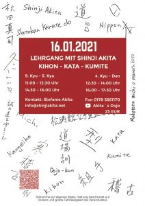 Flyer für den Lehrgang mit Akita Sensei im Januar 2021 Seite 2